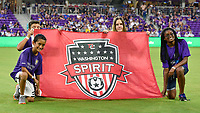 Orlando, FL - Saturday July 07, 2018: Banner kids during the second half of a regular season National Women's Soccer League (NWSL) match between the Orlando Pride and the Washington Spirit at Orlando City Stadium. Orlando defeated Washington 2-1.