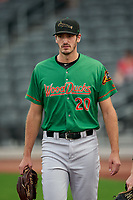 Down East Wood Ducks Michael Matuella (20) before a Carolina League game against the Fayetteville Woodpeckers on August 13, 2019 at SEGRA Stadium in Fayetteville, North Carolina.  Fayetteville defeated Down East 5-3.  (Mike Janes/Four Seam Images)