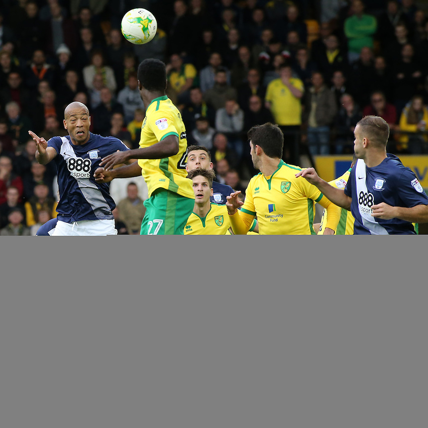 Preston North End's Alex John-Baptiste rises highest to give his side a 1-0 lead<br /> <br /> Photographer David Shipman/CameraSport<br /> <br /> The EFL Sky Bet Championship - Norwich City v Preston North End - Saturday 22nd October 2016 - Carrow Road - Norwich<br /> <br /> World Copyright &copy; 2016 CameraSport. All rights reserved. 43 Linden Ave. Countesthorpe. Leicester. England. LE8 5PG - Tel: +44 (0) 116 277 4147 - admin@camerasport.com - www.camerasport.com