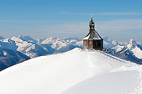 Germany, Bavaria, Upper Bavaria, Tegernseer Valley, Holy Cross Church at Wallberg mountain, view into Bavarian and Austrian Alps