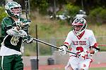 Palos Verdes, CA 04/20/10 - Clay Russert (Mira Costa #6) and Jonathon Gonzalez (Palos Verdes #2) in action during the Mira Costa-Palos Verdes boys lacrosse game.