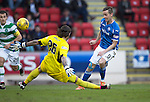 St Johnstone v Celtic&hellip;.McDiarmid Park, Perth.. 11.05.16<br />Steven MacLean puts the ball past Logan Bailly to make it 1-1<br />Picture by Graeme Hart.<br />Copyright Perthshire Picture Agency<br />Tel: 01738 623350  Mobile: 07990 594431