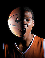 ***IN-CAMERA DOUBLE EXPOSURE***..University of Texas freshman Kevin Durant (CQ) is photographed using a double exposure technique at the Longhorns practice facility in Austin, Texas on Wednesday, October 11, 2006. Durant, the number two high school recruit in the nation, is expected to declare for the NBA draft after the upcoming basketball season.