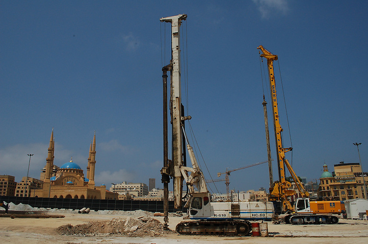 Revelopment work in downtown Beirut around the Al-Omari mosque.