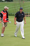 Shane Lowry  missing his putt for a boggie on the 16th on day three of the Celtic Manor Wales Open 2010.Picture Fran Caffrey/Newsfile.ie