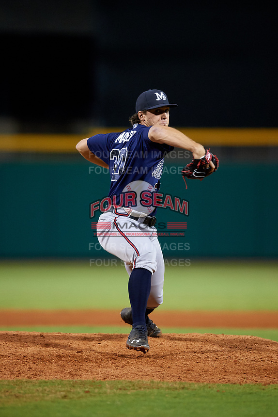Mississippi Braves relief pitcher Michael Mader (30) delivers a pitch during a game against the Montgomery Biscuits on April 24, 2017 at Montgomery Riverwalk Stadium in Montgomery, Alabama.  Montgomery defeated Mississippi 3-2.  (Mike Janes/Four Seam Images)