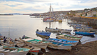 Colorful fishing boats at dock at Santa Rosalia,Baja California, Mexico