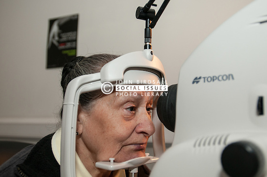 A patient has an eye test to check for  Diabetic Retinopathy