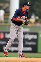 August 6, 2009:  Tyler Greene of the Memphis Redbirds, Pacific Cost League Triple A affiliate of the St. Louis Cardinals, during a game at the Spring Mobile Ballpark in Salt Lake City, UT.  Photo by:  Matthew Sauk/Four Seam Images