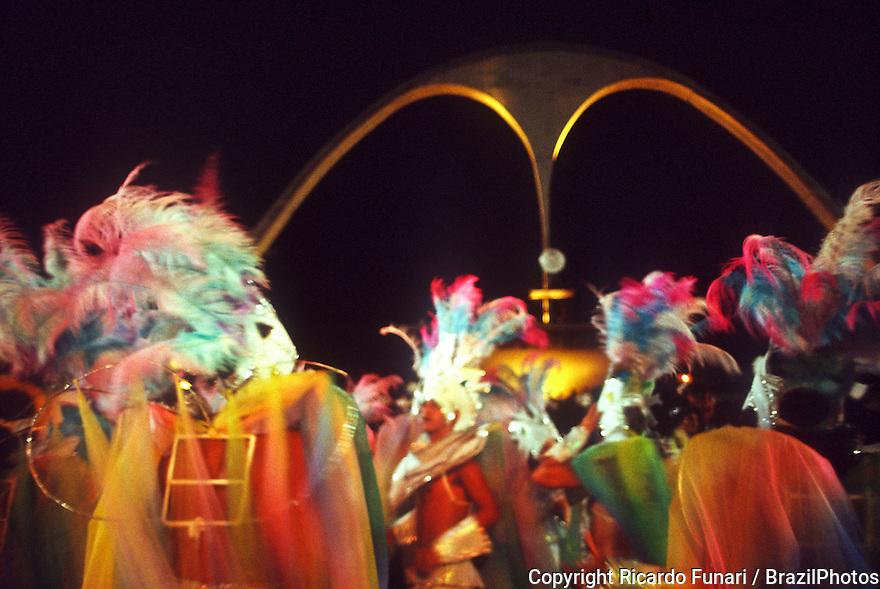 Samba Schools Parade in Sambodromo with Praca da Apoteose ( Apoteose Square ) in background, Carnival in Rio de Janeiro, Brazil. Colorful costumes.