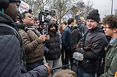 Supporters of detained Austrian far-right leader Martin Sellner protest at Speakers' Corner, London, where he had been scheduled to speak.