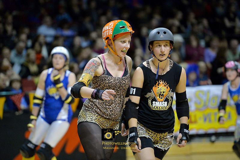 Roller Derby match between Smash Malice and Comic Slams at TSB Arena, Wellington, New Zealand on Saturday 13 April 2013.<br /> Photo by Masanori Udagawa.<br /> www.photowellington.photoshelter.com.