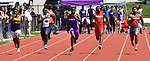 Jermarrion Stewart of Collinsville (center) won the 100 meter dash at the Collinsville Invitational Boys Track & Field Meet on Saturday May 5, 2018. Other runners (from left) are: Dorian Brown of O'Fallon, Keith Kimbrow of Belleville East, Stewart, Matthew Patrick of Centralia, and Deonte' McGoy of Alton. Tim Vizer | Special to STLhighschoolsports.com