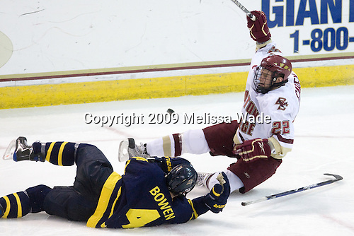 Pat Bowen (Merrimack - 4), Paul Carey (BC - 22) - The Boston College Eagles defeated the Merrimack College Warriors 4-3 on Friday, October 30, 2009, at Conte Forum in Chestnut Hill, Massachusetts.