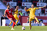 Jackson Irvine of Australia (R) competes for the ball with Mohammed Darwish of Palestine (L) during the AFC Asian Cup UAE 2019 Group B match between Palestine (PLE) and Australia (AUS) at Rashid Stadium on 11 January 2019 in Dubai, United Arab Emirates. Photo by Marcio Rodrigo Machado / Power Sport Images
