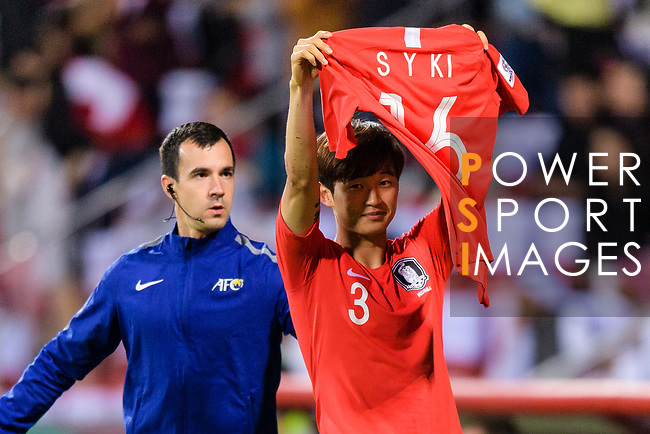 Kim Jinsu of South Korea (R) celebrates by holding the jersey of Ki Sungyueng of South Korea (not in picture) during the AFC Asian Cup UAE 2019 Round of 16 match between South Korea (KOR) and Bahrain (BHR) at Rashid Stadium on 22 January 2019 in Dubai, United Arab Emirates. Photo by Marcio Rodrigo Machado / Power Sport Images