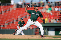 Pitcher Mario Alcantara (51) of the Greenville Drive delivers a pitch in a game against the Charleston RiverDogs on Sunday, June 28, 2015, at Fluor Field at the West End in Greenville, South Carolina. Charleston won, 12-9. (Tom Priddy/Four Seam Images)
