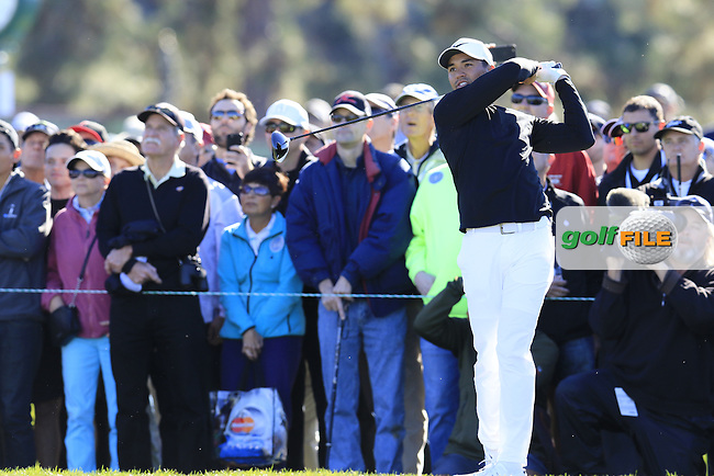 Jason Day (AUS) tees off the 13th tee during Friday's Round 2 of the 2017 Farmers Insurance Open held at Torrey Pines Golf Course, La Jolla, San Diego, California, USA.<br /> 27th January 2017.<br /> Picture: Eoin Clarke | Golffile<br /> <br /> <br /> All photos usage must carry mandatory copyright credit (&copy; Golffile | Eoin Clarke)