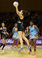 16.07.2015 Silver Ferns Bailey Mes in action during the Silver Fern v Fiji netball test match played at Te Rauparaha Arena in Porirua. Mandatory Photo Credit ©Michael Bradley.