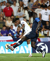 Football: Uefa under 21 Championship 2019, England - France, Dino Manuzzi stadium Cesena Italy on June18, 2019.<br /> England's Demerai Gray (l) in action with France's Dayot Upamecano  (r) in a action during the Uefa under 21 Championship 2019 football match between England and France at Dino Manuzzi stadium in Cesena, Italy on June18, 2019.<br /> UPDATE IMAGES PRESS/Isabella Bonotto