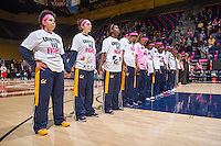 California women's basketball lines up during flag ceremony before start of women's basketball game against Arizona at Haas Pavilion in Berkeley, California on February 14th, 2014. California defeated Arizona 65 - 49