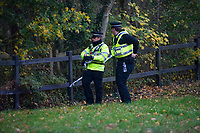 Pictured: Police officers outside the cordoned off field in St Melons where a body was found. Thursday 22 November 2018<br /> Re: Officers were called to the area near Brookfield Drive in St Mellons at about 07:15 GMT, South Wales Police.<br /> <br /> The area, near playing fields close to a school, is now cordoned off as forensics officers carry out work at the scene.