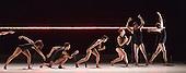 Dress rehearsal of the world premiere of Gravity Fatigue created by fashion designer and artist Hussein Chalayan for Sadler's Wells Theatre. Running from 28 to 31 October 2015 with 13 dancers (Aimilios Arapoglou, Amy Bell, Navala Niku Chaudhari, Aliashka Hilsum, Edouard Hue, Lisa Kasman, Stephanie McMann, Erik Nevin, Inpang Ooi, Mickael Marso Riviere, Louise Tanoto, Majon van der Schot and Jack Webb). Photo credit: Bettina Strenske