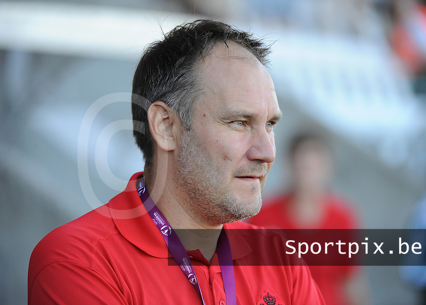 20140718 - Tonsberg , NORWAY : Belgian Barry Pauwels pictured during the female soccer match between Women under 19 teams of Norway and Belgium , on the second matchday in group A of the UEFA Women Under19 European Championship at Tonsberg Stadion , Norway . Friday 18th July 2014 . PHOTO DAVID CATRY