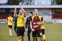 John-Joe O'Toole of Northampton Town (right) celebrates after the Sky Bet League 2 match between Stevenage and Northampton Town at the Lamex Stadium, Stevenage, England on 19 March 2016. Photo by David Horn / PRiME Media Images.