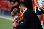Atletico de Madrid's coach Diego Pablo Simeone during La Liga match. Aug 18, 2019. (ALTERPHOTOS/Manu R.B.)Atletico de Madrid's coach Diego Pablo Simeone with her daugther during the Spanish La Liga match between Atletico de Madrid and Getafe CF at Wanda Metropolitano Stadium in Madrid, Spain