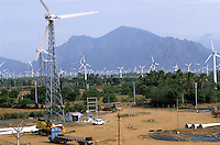 INDIA, Tamil Nadu, Kanyakumari, Cape Comorin, Muppandal, windfarm and storage place of wind turbine company Vestas RRB an indian danish joint venture / INDIEN Kanniyakumari, Kap Komorin, Windpark und Lagerplatz des Windkraftanlagen Hersteller Vestas RRB