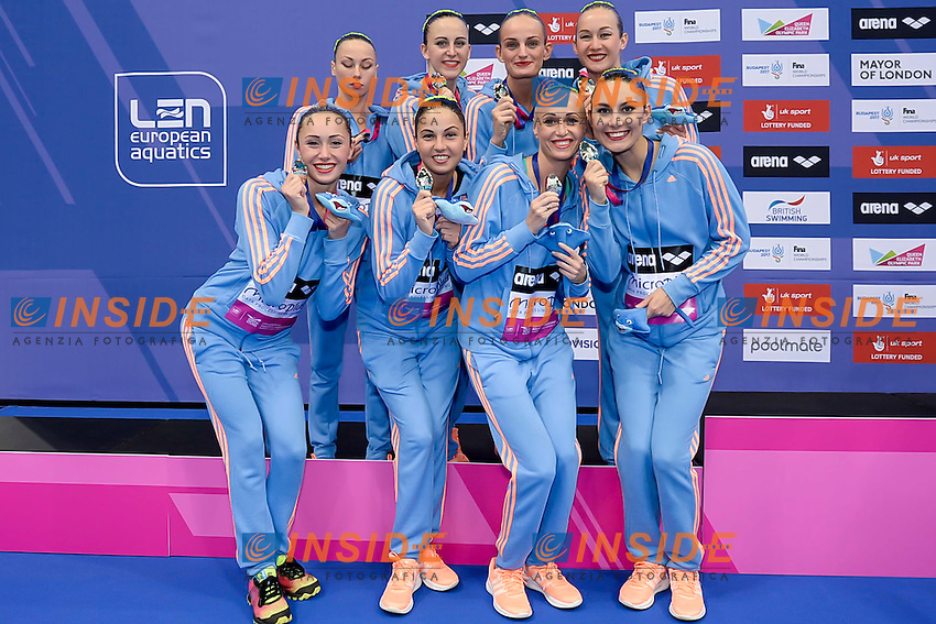 Team UKR silver medal<br /> ANANASOVA Lolita VOLOSHYNA Anna<br /> IUSHKO Daria  GRECHYKHINA Olena<br /> SAVCHUK Anastasiya  SYDORENKO Kseniya<br /> SABADA Oleksandra  SADURSKA Kateryna<br /> London, Queen Elizabeth II Olympic Park Pool <br /> LEN 2016 European Aquatics Elite Championships <br /> Team Technical final<br /> Day 01 09-05-2016<br /> Photo Giorgio Scala/Deepbluemedia/Insidefoto