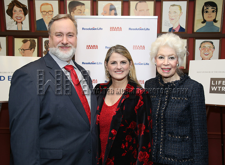 Gabriel Shanks, Bonnie Comley and  Jano Herbosch attend the 2017 Drama League Award Nominees Announcements at Sardi's on April 19, 2017 in New York City.