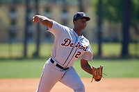 Detroit Tigers Xavier Javier (25) during a Minor League Spring Training game against the Toronto Blue Jays on March 22, 2019 at the TigerTown Complex in Lakeland, Florida.  (Mike Janes/Four Seam Images)