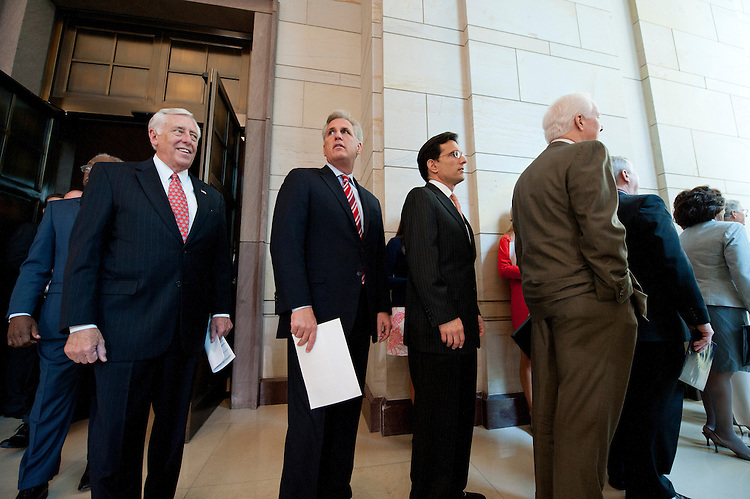 UNITED STATES - July 18: Rep. Steny Hoyer, D-MD., House Majority Whip Kevin McCarthy, R-CA., House Majority Leader Eric Cantor, R-VA., Sen. John Cornyn, R-TX., and Sen. Richard Durbin, D-IL., during an event in Capitol Visitor Center Emancipation Hall to honor Nelson Mandela and to celebrate his birthday on July 18, 2013. (Photo By Douglas Graham/CQ Roll Call)