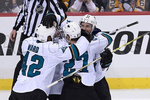 01.06.2016. Pittsburgh, Penn, USA.  San Jose Sharks defenseman Justin Braun (61) celebrates his game-tying goal during the third period in a 1-1 tie during the 2016 NHL Stanley Cup Final - Game Two between the San Jose Sharks and the Pittsburgh Penguins at the Consol Energy Center in Pittsburgh, Pennsylvania.