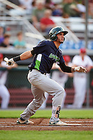 Vermont Lake Monsters left fielder Luis Barrera (16) at bat during a game against the Auburn Doubledays on July 12, 2016 at Falcon Park in Auburn, New York.  Auburn defeated Vermont 3-1.  (Mike Janes/Four Seam Images)