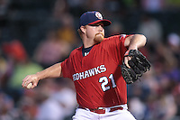Jason Stoffel (21) of the Oklahoma City RedHawks piching during the Pacific Coast League game against the Round Rock Express at Chickashaw Bricktown Ballpark on June 14, 2013 in Oklahoma City ,Oklahoma.  (William Purnell/Four Seam Images)