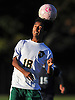 Pedro Reyes Fajardo #18 of Westbury makes a header during a Nassau County Conference AA-3 boys soccer game against Plainview JFK at Westbury High School on Friday, Oct. 14, 2016. Plainview JFK won by a score of 1-0.