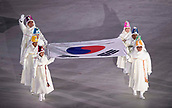 9th February 2018, Pyeongchang, South Korea; 2018 Winter Olympic Games; PyeongChang Olympic Stadium; The national flag of South Korea is carried by past Olympians and dignitaries in the Opening Ceremony