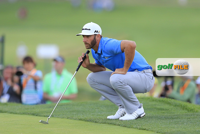 Dustin Johnson (USA) lines up his putt on the 9th green during Friday's Round 2 of the 2016 U.S. Open Championship held at Oakmont Country Club, Oakmont, Pittsburgh, Pennsylvania, United States of America. 17th June 2016.<br /> Picture: Eoin Clarke | Golffile<br /> <br /> <br /> All photos usage must carry mandatory copyright credit (&copy; Golffile | Eoin Clarke)