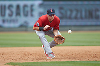 Salem Red Sox third baseman Bobby Dalbec (29) fields a ground ball during the game against the Winston-Salem Dash at BB&T Ballpark on April 22, 2018 in Winston-Salem, North Carolina.  The Red Sox defeated the Dash 6-4 in 10 innings.  (Brian Westerholt/Four Seam Images)