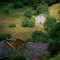 Farm buidlings in rural countryside near the village of Boal, Asturias, Spain