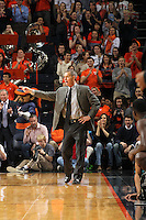 Wake Forest head coach Jeff Bzdelik reacts to a play during the game against Virginia Wednesday Jan. 08, 2014 in Charlottesville, Va. Virginia defeated Wake Forest 74-51.