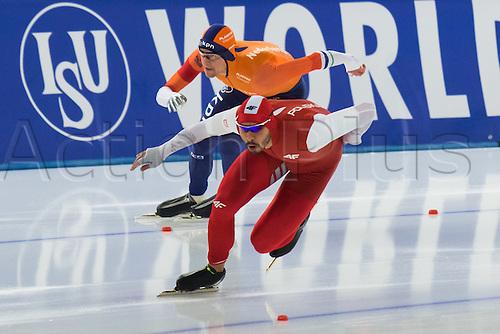 January 29th 2017, Sportforum, Berlin, Germany; ISU Speed Skating World Cup;  ISU Speed Skating World Cup , 500m Division A; Artur Was (POL), Ronald Mulder (NED)