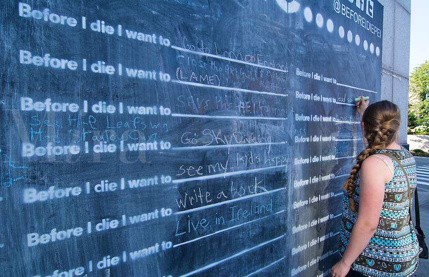 "Canada Prince Edward Island, P.E.I. Charlottetown downtown wall chalk on ""Before I die I want to"""