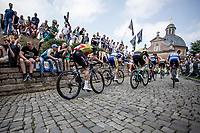 Belgian Champion Yves Lampaert (BEL/Quick Step Floors) up the Kapelmuur. <br /> <br /> Binckbank Tour 2018 (UCI World Tour)<br /> Stage 7: Lac de l'eau d'heure (BE) - Geraardsbergen (BE) 212.7km