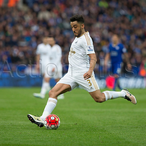 24.04.2016. King Power Stadium, Leicester, England. Barclays Premier League. Leicester versus Swansea.  Swansea City defender Neil Taylor prepares to cross the ball in to the Leicester goal area.