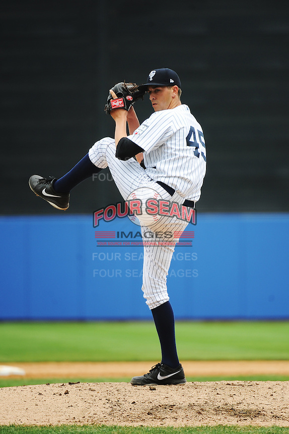 Staten Island Yankees pitcher Andy Beresford (45) during game against the State College Spikes at Richmond County Bank Ballpark at St.George on August 8, 2013 in Staten Island, NY.  Staten Island defeated State College 6-5.  (Tomasso DeRosa/Four Seam Images)