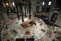 Pope Francis lies down in prayer during the Good Friday Passion of Christ Mass inside St. Peter's Basilica, at the Vatican, Friday, March 30, 2018<br /> UPDATE IMAGES PRESS/Donatella Giagnori/Pool<br /> <br /> STRICTLY ONLY FOR EDITORIAL USE